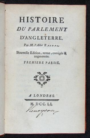 Publication de l'Histoire du Parlement d'Angleterre
