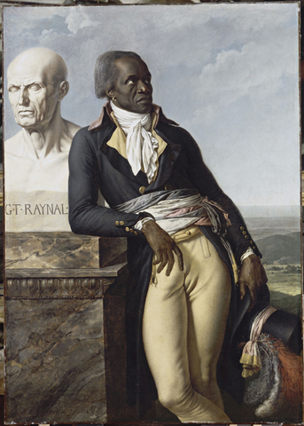 Anne-Louis Girodet-Trioson, élève de David, peint le portrait de Jean-Baptiste Belley conventionnel ex-représentant des colonies, accoudé au buste de Raynal.
