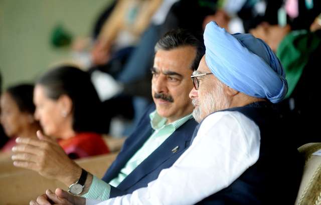 India's and Pakistan's prime ministers meet during a World Cup