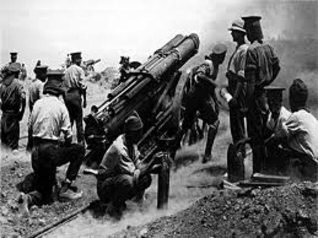 12:00 4 Turkish shrapnel batteries firing from the 3rd ridge.