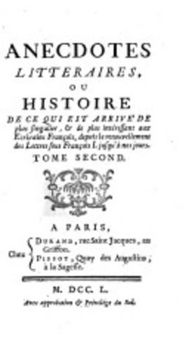 Publication des Anecdotes littéraires ou historiques