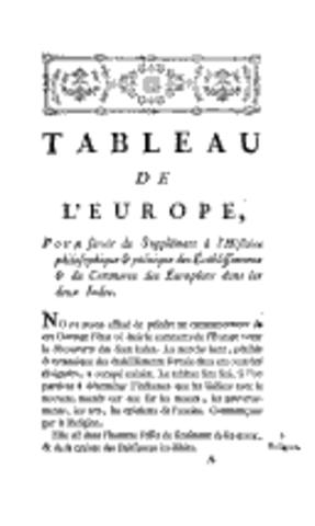 Tableau de l'Europe (supplément Histoire des deux Indes)