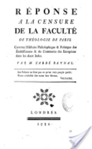 Réponse à la censure de la faculté de théologie de Paris contre l'histoire philosophique