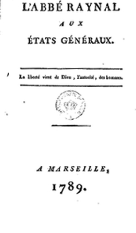 L'abbé Raynal aux Etats-généraux