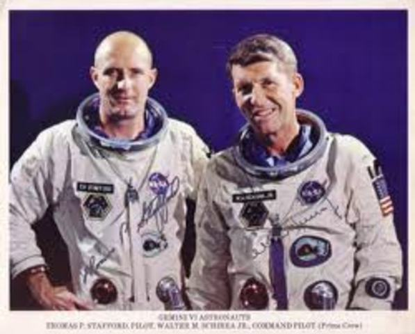 Dec. 15 -Walter Schirra and Thomas Stafford, in their Gemini 6 spacecraft, make the first space rendezvous with Gemini 7.