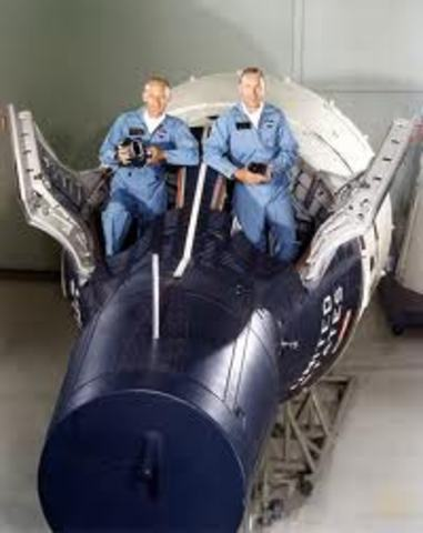 """Gemini 12, the last flight of the Gemini Program, launches with James Lovell and Edwin """"Buzz"""" Aldrin aboard."""