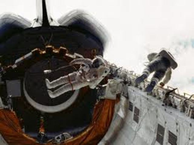 The first space walk on space shuttle