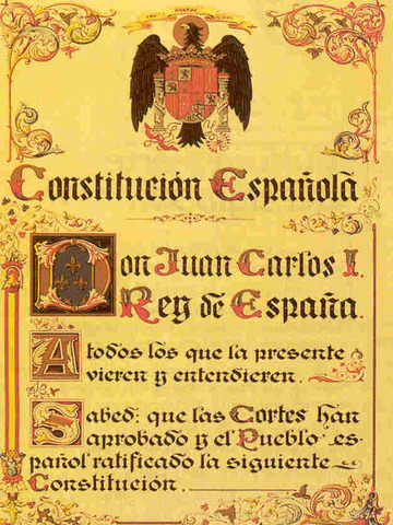 Se redacta y se apruebaen referéndum la Constitución española vigente en la actualidad