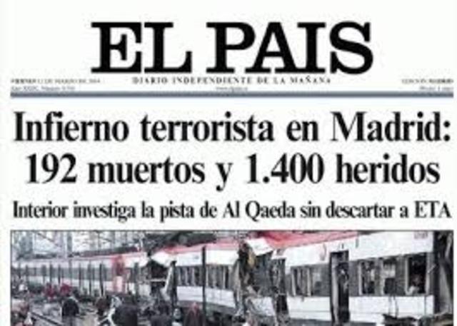 Un grupo terrorista islamista provoca un atentado en Madrid en el que mueren casi 200 peresonas
