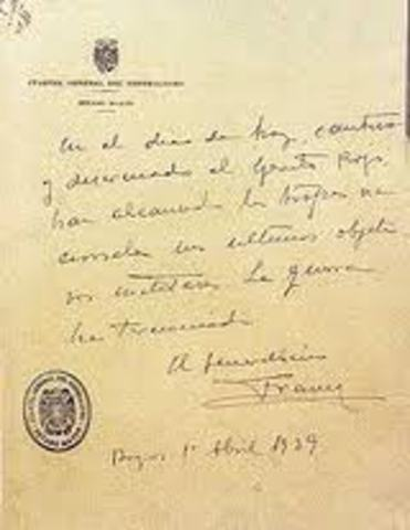 Termina la Guerra Civil y comienza la dictatura del general Franco.