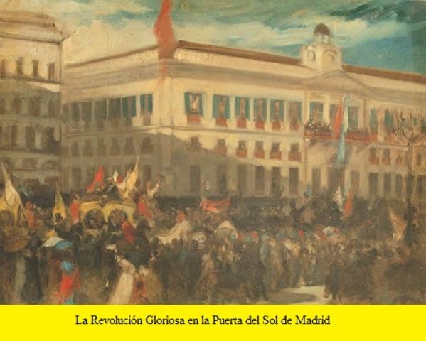 Se produce una revolución llamada ''la Gloriosa '' y la reina Isabel II es expulsada de España.