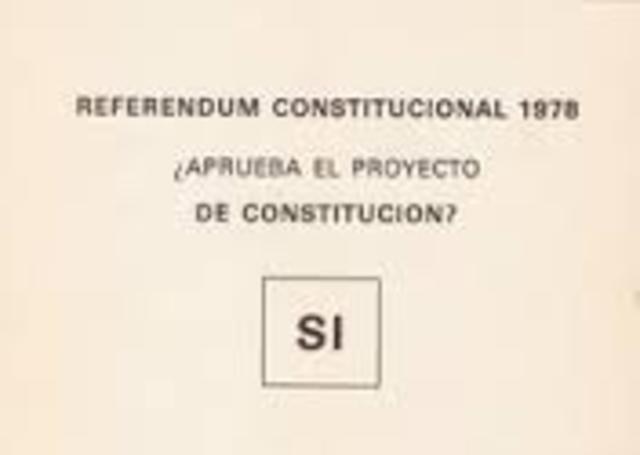 Se redacta y se aprueba en referéndum la constitución española vigente en la actualidad