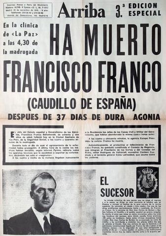 Muere el general Franco y comienza la transición democrática.