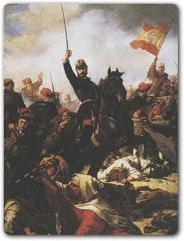 """Se produce una revolución llamada """"la Gloriosa"""" y la reina Isabel II es expulsada de España."""