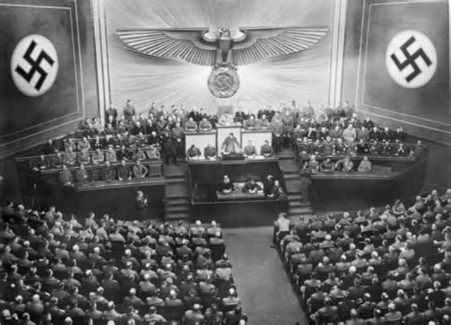 Enabling Act gives Hitler dictatorial power.