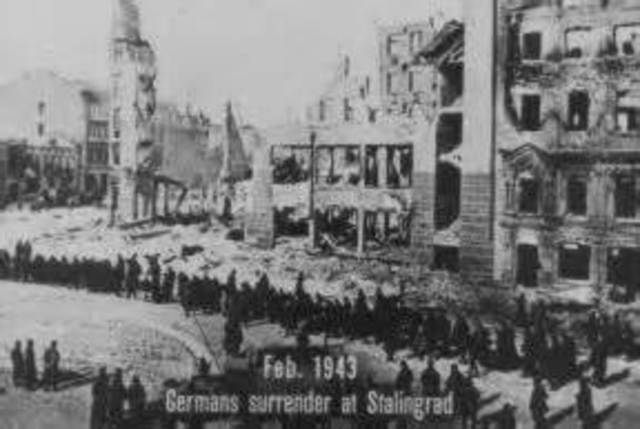 Germans surrender at Stalingrad in the first big defeat of Hitler's armies.