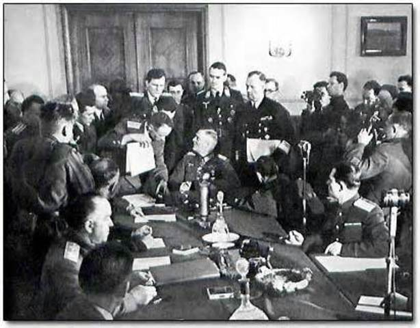 Unconditional surrender of all German forces to Allies.