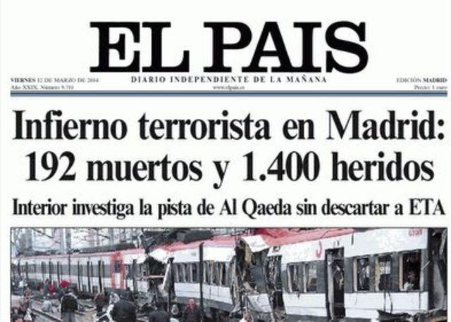 UN GRUPO TERRORISTA ISLAMISTA PROVOCA UN ATENTADO EN MADRID ENEL QUE MUEREN CASI 200 PERSONAS.