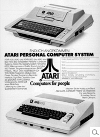 Advertisment for Atari 400 and 800 computers