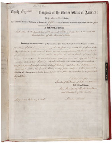 13th Amendment to the U.S. Constitution