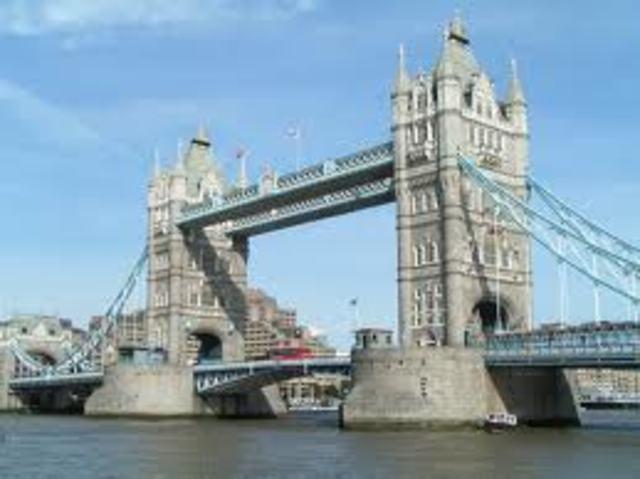 bouw van tower bridge