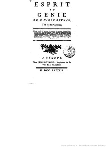Parution des extraits de l'œuvre sous le titre Esprit et génie de M. l'abbé Raynal.