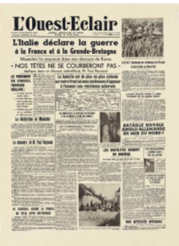 L'Italie déclare la guerre à la France