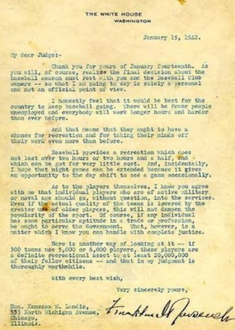 "Franklin D. Roosevelt and the ""Green Light Letter"""
