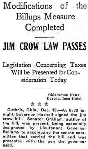 Jim Crow Bill Signed Into Oklahoma Legislature