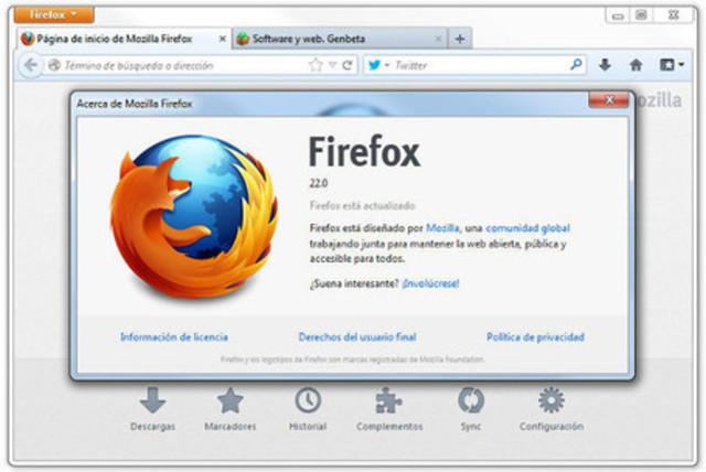 Versión 22, Mozilla Firefox