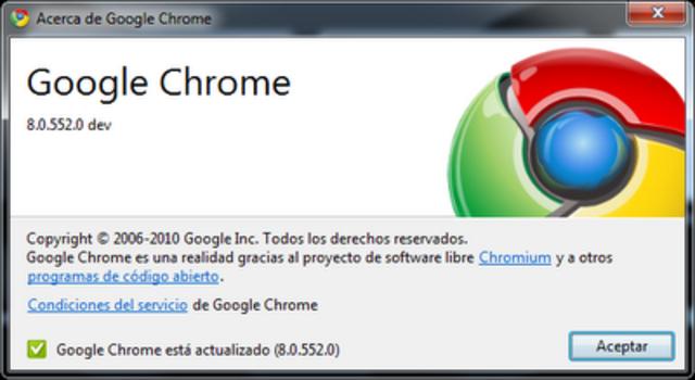 Versión 8.0, Google Chrome