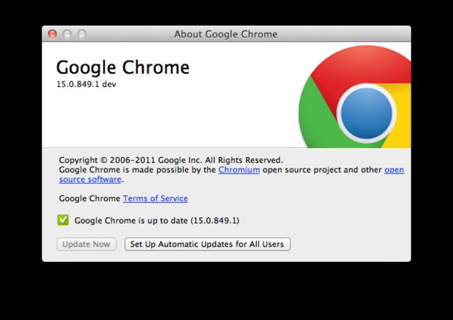 Versión 15, Google Chrome