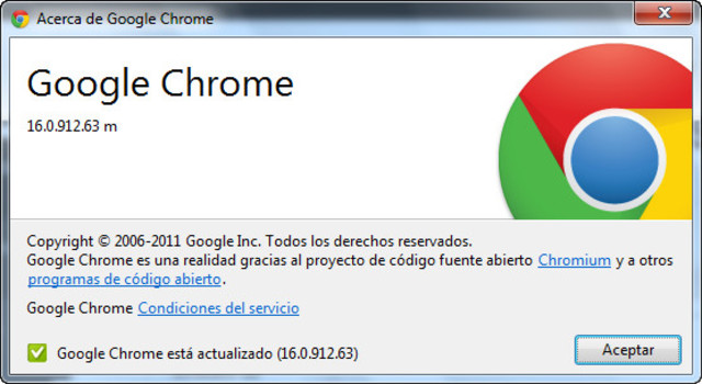 Google Chrome Version 16