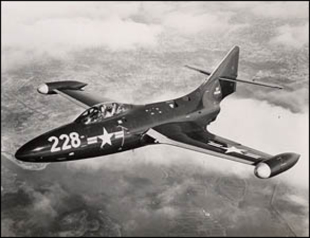 Grumman produces its first jet fighter, F9F Panther.