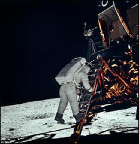 Lunar Module lands the first man on the moon