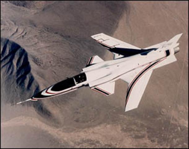 Grumman develops the forward-swept wing X-29.
