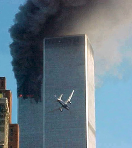 Hijacked American Airlines Flights 11 and 175 Crash into the World Trade Center's North and South Towers, Destroying Both
