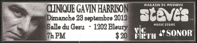 Gavin Harrison Clinique 23SEPT2012