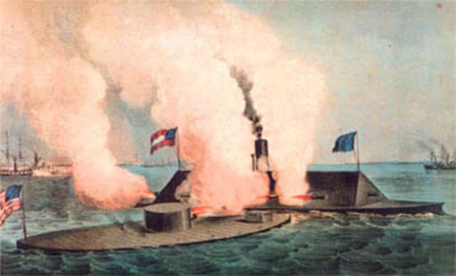 Battle of the armored warships, the Monitor and the Merrimac