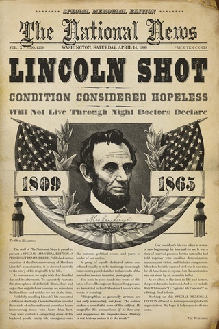 Lincoln assassinated by John Wilkes Booth at Ford Theater. Secretary Seward is stabbed by a co-conspirator.