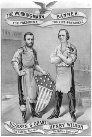 U.S.Grant wins Presidential election in a landslide victory.