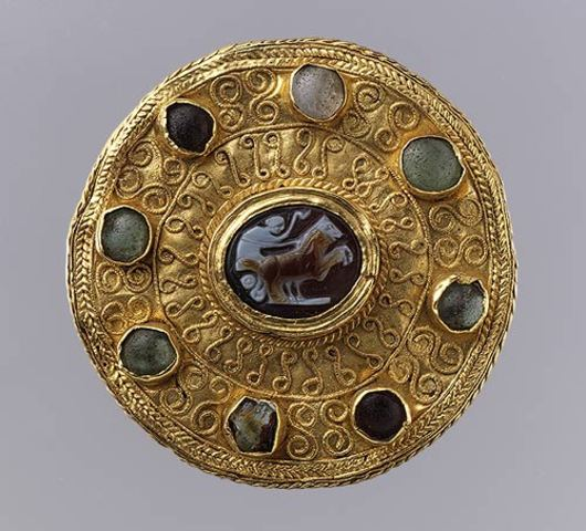 Disk Brooch with Cameo and Cabochons