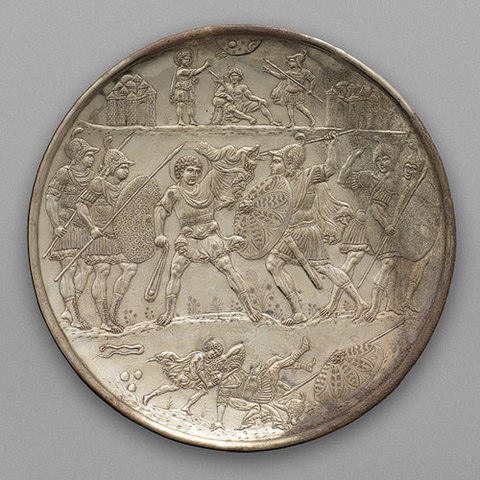 Silver Plate with David and Goliath
