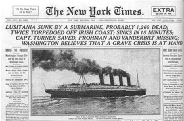 Lusitania sunk off Irish Coast