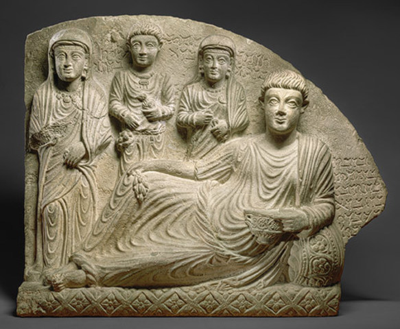 Gravestone with funerary banquet