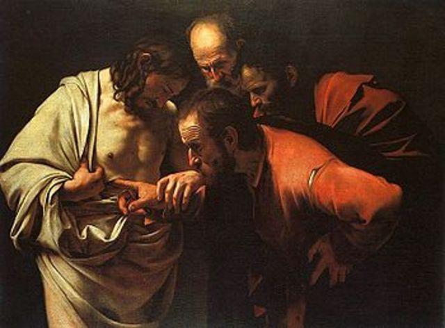 Doubting Thomas by (Michelangelo Merisi da) Caravaggio.
