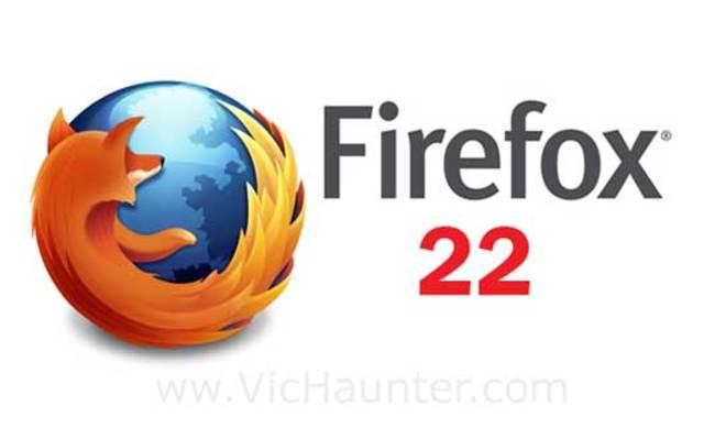 La última versión, Firefox 22