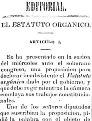 El Estatuto orgánico de Comonfort.