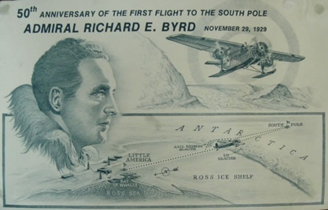 Admiral Richard Byrd flies over South Pole