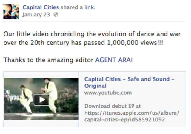 Original Safe & Sound video released in 2011 gets 1,000,000 views